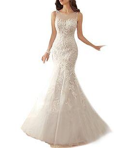 OYISHA Long Mermaid Wedding Dresses 2016 Appliqued Lace up Bridal Dress WD22 White 4 -- Want additional info? Click on the image.
