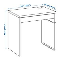 IKEA - MICKE, Desk, white, , It's easy to keep cords and cables out of sight but close at hand with the cable outlet at the back.You can mount the legs to the right or left, according to your space or preference.Drawer stops prevent the drawers from being pulled out too far.Can be placed anywhere in the room because the back is finished.You can extend your work surface by combining desks and drawer units. All desks and drawer units in the MICKE series are the same height.