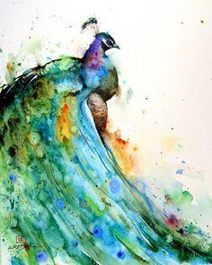 PEACOCK #Watercolor Print by Dean Crouser