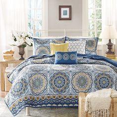 Queen Size 5 Piece Modern Bedding Quilt Set Blue Floral Design