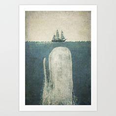 White Whale Art Print by Terry Fan | Society6
