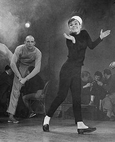 The jazz nightclub scene from Funny Face where Audrey got to cut loose on the dance floor. Copyright © Paramount Pictures.