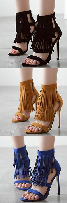 Keep your shoe collection styled up with these fringed stiletto heels with an…