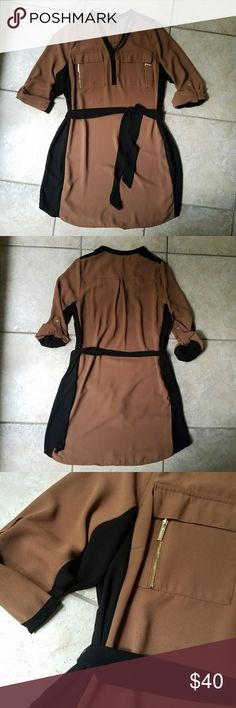 Lane Bryant Brown & Black Shirt Dress with pockets Lane Bryant Brown & Black Shirt Dress with pockets & gold hardware.  Like new Lane Bryant Dresses
