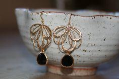 Black & Gold Earrings // Bridesmaid Jewelry