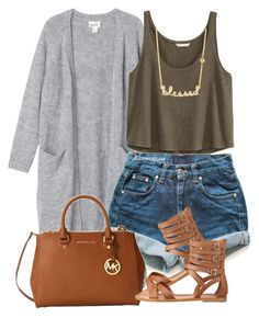 """""""05:6:15"""" by diggysimmion ❤ liked on Polyvore featuring Monki, H&M, Levi's, Michael Kors, Nine West and Sydney Evan"""