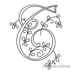 Monogram for Hand Embroidery: T via Mary Corbet