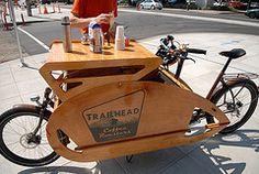 "Charlie Wicker pilots his new   ""cafe bike"" Trailhead Coffee"
