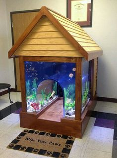 Dog house & fish tank combined