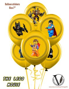 The LEGO Movie  Birthday Party Circles / Balloon от VintageDS, $6.99