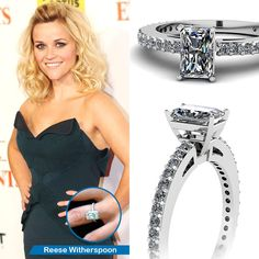 Celebrity Look Alike Engagement Ring ||  Sleek Sparkle Ring || Radiant Cut Diamond Petite Ring With White Diamond In 950 Platinum