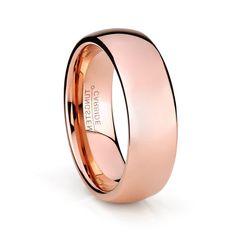 8mm Rose Gold Tungsten Band Tungsten Ring by TRIBELosAngeles
