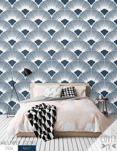 Navy Geometric Pattern Wallpaper / Simple Removable Wallpaper / Scallop Wall Mural / Geometric Wallpaper - CM012