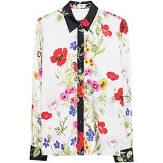 Blugirl White St. Primavera Multicolor // Blouse with flower motive (€319) ❤ liked on Polyvore featuring tops, blouses, white summer blouse, floral blouse, floral print blouse, white floral blouse and flower blouse