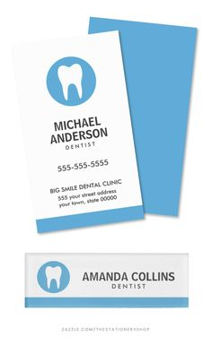 Dentist business card and matching magnetic name tag with white tooth logo or custom logo. Modern and minimal design. Would be great for a dentist, dental clinic, dental assistant, orthodontist etc or why not as a graduation gift for a dentist student? Available in other colors