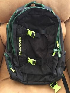 f2a64a7f63e DAKINE Mission 25L Backpack Black and Bright Green Skate Bag Da Kine  #Dakine 25l Backpack