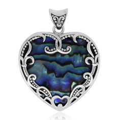 Bali Legacy Collection Abalone Shell Sterling Silver Heart Pendant without Chain | pendants | jewelry | online-store | Shop LC