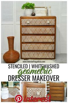 furniture muebles With just a bit of elbow grease and very little paint, this well used dresser was redeemed with a whitewash finish and stenciled geometric dresser makeover. Refurbished Furniture, Repurposed Furniture, Shabby Chic Furniture, Antique Furniture, Modern Furniture, Rustic Furniture, Diy Furniture Upcycle, Furniture Dolly, Outdoor Furniture
