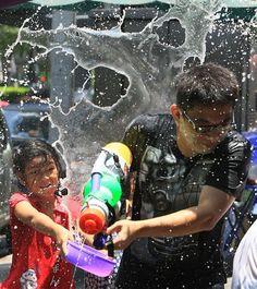 Songkran water festival, or Thai New Year, in Bangkok