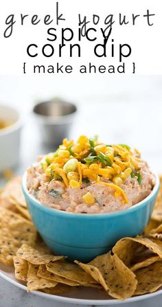 Greek Yogurt Spicy Corn Dip is a simple and quick, make ahead appetizer! Creamy greek yogurt mixed with crisp corn, cheddar cheese and a bit of spice. Healthy Superbowl Snacks, Healthy Dips, Healthy Appetizers, Easy Snacks, Cold Snacks, Diet Snacks, Healthy Dinners, Appetizer Dips, Appetizer Recipes