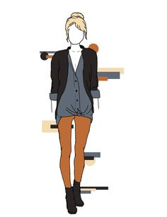 Fall Feminine Flair; The #bullheadblack #pacsun jeans brighten an otherwise forgettable outfit for fall. A loose fitting boyfriend shirt under a black cardigan and heeled boots are the perfect Autumn mates to these jeans.  These are original drawings by Madelyn Riehl (Gizmoa)