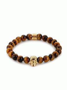 Yellow Tiger Eye & Perforated Gold Skull Charm Bracelet - Northskull
