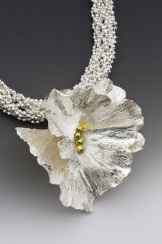 silver flower necklace award winning made in america by lynncobb, $2925.00