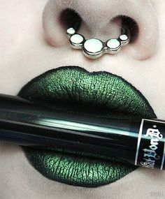Kat Von D Beauty Everlasting Liquid Lipstick in 'Witches' topped with eyeshadow in 'Sideline' Green Lipstick, Lipstick For Fair Skin, Lipstick Art, Lip Art, Lipstick Colors, Lip Colors, Lipsticks, Makeup Art, Lip Makeup