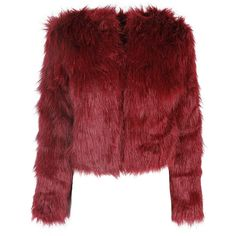 Burgundy Fur Short Coat ($54) ❤ liked on Polyvore featuring outerwear, coats, jackets, red coat, red fur coat, short fur coat, fur coat and burgundy fur coat