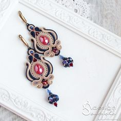 Soutache Necklace, Boho Necklace, Boho Jewelry, Jewelery, Jewelry Design, Shibori, Handmade Necklaces, Handmade Jewelry, Diy Earrings