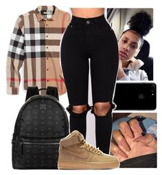 """""""Untitled #40"""" by aaliyah-marie1 ❤ liked on Polyvore featuring Burberry, MCM and NIKE"""