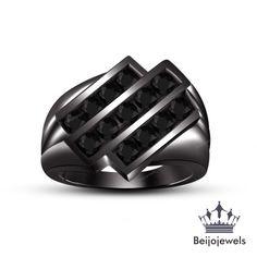 Mens 1.00 Ct Black Diamond Channel Set Wedding Engagement Ring 14k Black Gold #beijojewels #WeddingBand