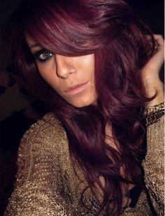 brunette hair with burgundy highlights | Download dark brown red hair color wavy hair