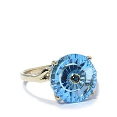 gemporia jewelry   Swiss Blue Topaz & Blue Diamond Gold Ring   Gemporia