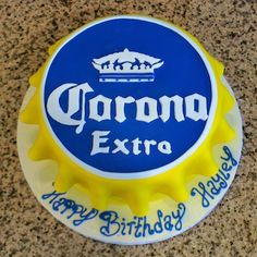 This Corona birthday cake looks just like a Corona bottle cap!