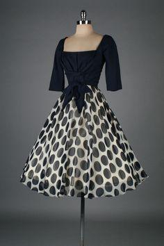 Vintage 1950's Linen Crepe Polka Dot Cocktail Dress
