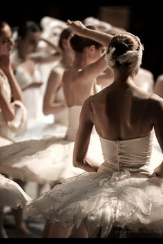 Ballerinas getting ready for the stage