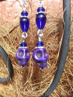 Cobalt Blue beads and skulls earrings.