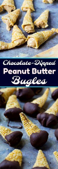 Chocolate Dipped Peanut Butter Bugles #sweetandsalty #peanutbutter #snacks