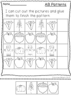 October Fest - Printable Patterns - 12 worksheets on fall/halloween/fire safety $ Pattern Worksheet, Math Patterns, Fire Safety, Cut And Paste, Math Lessons, Make Time, Fall Crafts, Fall Halloween, Special Education