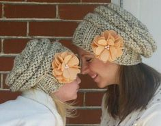 b008d36ea07 Mommy and Me Matching Hand Knit Slouch Hats with Coconut Buttons