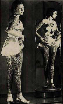 Betty Broadbent (Nov. 1st, 1909-March 28th, 1983).  Betty was the Tattooed Lady for Ringling Brothers & Barnum & Bailey Circus.  She developed an interest in tattoos early in life, and eventually sported over 500 of them on her body.  Betty learned how to tattoo herself and traveled the world inking people before her death in 1983.