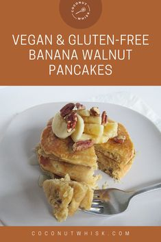 A super simple and tasty recipe! Tastes like a treat but full of ingredients you'll love. If you are allergic to pecans or don't like them, you can leave them out and have plain banana pancakes! Enjoy :)  #FoodandDrink #Vegan  #GlutenFree  #Recipe #BananaWalnutPancakes Gluten Free Banana, Vegan Gluten Free, Sweet Recipes, Vegan Recipes, Tasty Recipe, Banana Pancakes, Pecans, Super Simple, Glutenfree