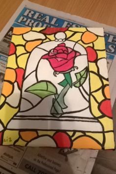 Painted Beauty and the Beast canvas/ mosaic rose