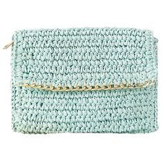 Light Blue Straw Weaving Chain-Trimmed Clutch Bag (170 UYU) ❤ liked on Polyvore featuring bags, handbags, clutches, green handbags, green purse, straw purse, green clutches and light blue handbags