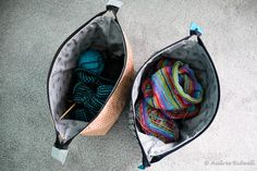 Blue is Bleu: Big Mouth Pouch - Noodlehead's open wide pouch, enlarged, with a double pull zipper