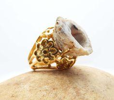 Flower Designer Druzy Ring Wedding Gift Jewelry Natural Druzy Gemstone