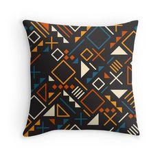 Retro Jumble Geometric Shapes Teal Orange Color Pattern Design