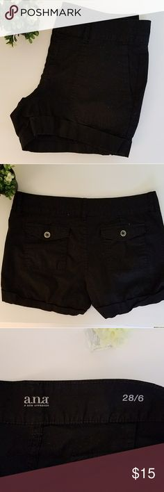 Black cotton/spandex Shorts by a.n.a Black cuffed chino style shorts by a.n.a cotton/spandex blend these are so flattering and worn just a few times. No damages a.n.a Shorts