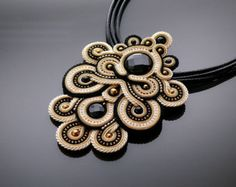 Black and gold Soutache necklace with Onyx . by ANBijou on Etsy